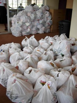 Food parcels organized for distribution