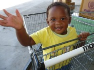 18-month old Omphemetse practices her new high-5 moves